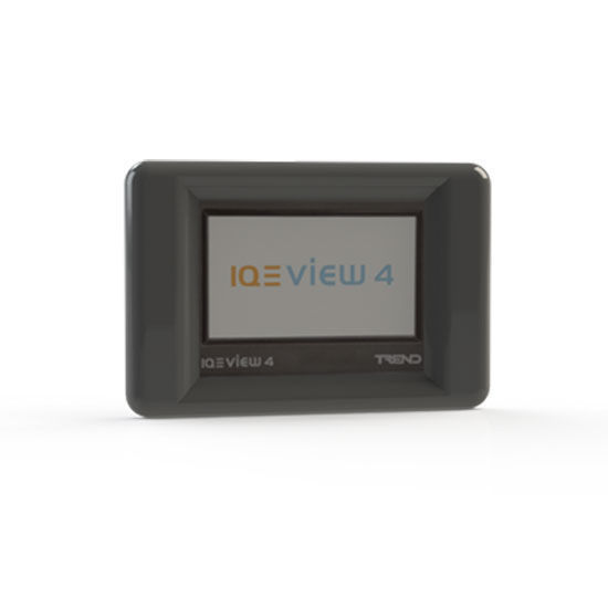 """Picture of IQView4 display panel including 3 m (9 10"""") RJ11 to RJ11 RS232 cable."""